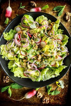 Butter Lettuce salad with pickled red onion, toasted walnuts and mint vinaigrette from heatherchristo.com