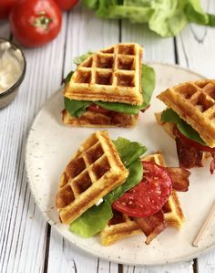 Cornbread Waffle BLT sandwiches will change the way you think about waffles and BLTs. This savory sandwich will take you by surprise with it's deliciousness! Roasted Tomato Salsa, Slow Roasted Tomatoes, All You Need Is, Cornbread Waffles, Waffle Maker Recipes, Sandwiches, Good Food, Yummy Food, Best Sandwich