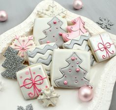 silver and pink holiday cookies!