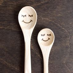 An adorable wood burned wooden spoon! Perfect to you as a sugar spoon for tea or coffee. This is a small wooden spoon engraved by hand and made to order