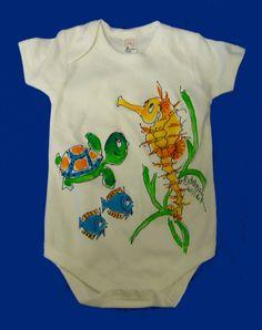 Seahorse One-Piece Bodysuit for Infants by DeborahWillardDesign