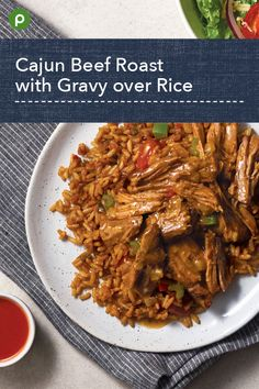 Served over spicy jambalaya rice. Publix Recipes, Meat Recipes, Slow Cooker Recipes, Crockpot Recipes, Cooking Recipes, Healthy Recipes, Recipies, Beef Dishes, Food Dishes
