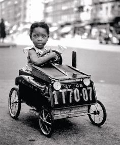 In my book, this ranks as one of the very cutest pictures ever. I think this little girl's daddy must have loved her very much to have made this little car for her. New York 1947 Photo: Fred Stein