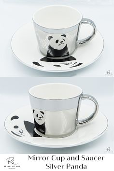 Elegant Panda Image reflected on a Silver mirror cup from a matching Silver trim saucer plate. Find pleasure by using this mirror reflection cup set created by the latest electroplating technology. Bring your tea or coffee time to the next level of luxury. The mirrored cup gift set comes with either gold or silver reflections and different designs or patterns on the saucers. The image is perfectly reflected by the mirrored cup. Mirror Cup, Panda Images, Cupping Set, Coffee Time, Cup And Saucer, Reflection, Plate, Technology, Tea