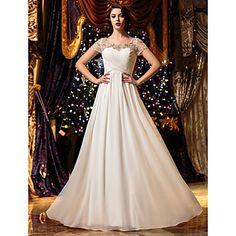 Lanting+Bride®+Corte+en+A+Tallas+pequeñas+/+Tallas+Grandes+Vestido+de+Boda+Transparente+Hasta+el+Suelo+Cuchara+Raso+con+–+EUR+€+97.99