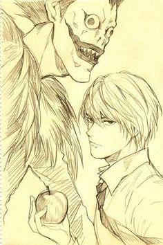 Death Note: Ryuk and Light Yagami Death Note デスノート, Death Note Fanart, Death Note Light, Anime Yugioh, Anime Pokemon, Anime Plus, Anime W, Anime Body, Light Yagami