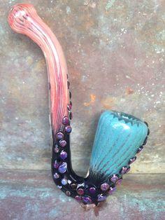 Mermaid series Sherlock glass pipe in pink black by FullMoonGlass