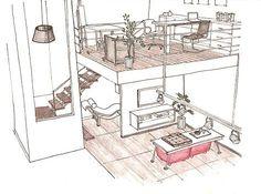 Projeto // Apartamento // Pequeno // Loft // Planta // Croqui a Mão Livre…