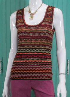 M Missoni Women's Sweater Top Wavy Stripe Scoop Neck Tank  #MMissoni #KnitTop