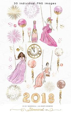 Swing into the New Year in glam & style! This whimsical fashion illustration collection features stylish girls of various ethnics in shimmering couture dresses. New Years Eve related clip arts include luxurious champagne, champagne glass, fireworks, gold confetti balloons, balloon letters for 2018, gold clock, sequins, glitter and confetti. The cliparts are hand drawn and painted by me. You will receive 30 individual graphics to create your own design arrangement and layout. The clip ar...