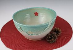 Yarn Bowl / knitting bowl / green with stars by NewDayPottery, $38.00