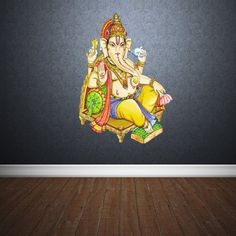 Full Color Wall Decal Mural Sticker Art Paintings Indian Ganesh Om Lotos Elephant Lord Hindu Success Buddha India Like Paintings Col159 *** Find out more about the great product at the image link.
