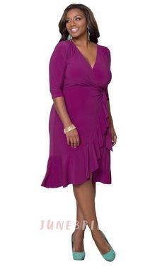 3/4 Sleeved Tea-length V-neck Ruffled Jersey Dress
