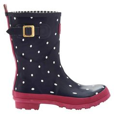 I have these rain boots!  And they pretty much sum up my preferred style at the moment: navy, dark pink, and polka dots.