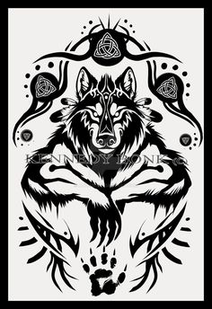 Shamanic Werewolf Tattoo Design by Anioue.deviantart.com on @DeviantArt