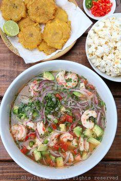 Shrimp and avocado ceviche – Laylita's Recipes Fish Recipes, Seafood Recipes, Mexican Food Recipes, Salad Recipes, Chicken Recipes, Cooking Recipes, Healthy Recipes, Ethnic Recipes, Mexican Desserts