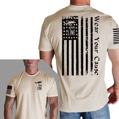 Distressed Flag T-Shirt- Nine Line Men's Short Sleeve Tee Shirt Cream Military Style Shirts, Military Apparel, Usa Shirt, Tee Shirts, Nine Line Apparel, Military Fashion, Men Fashion, Printed Shirts, Flag