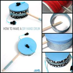 Make this fun diy musical instrument – a hand drum! Such a fun DIY toy for kids,… Make this fun diy musical instrument – a hand drum! Such a fun DIY toy for kids, and a craft that kids can help make, decorate, and play with afterward. Music Crafts, Vbs Crafts, Camping Crafts, Drums For Kids, Drum Lessons For Kids, Instrument Craft, Toy Musical Instruments, Cool Diy, Fun Diy