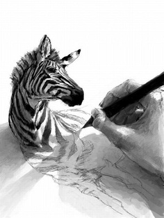 amazing 3D drawing of a zebra in black & white | @ indulgy |