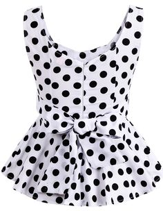 To find out about the White V Neck Sleeveless Polka Dot Bow Top at SHEIN, part of our latest Tank Tops & Camis ready to shop online today! African Fashion Dresses, Fashion Outfits, Kids Blouse Designs, Bow Tops, Cute Blouses, White V Necks, Western Dresses, Blouse Styles, Look Cool