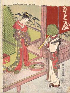 """Suzuki Harunobu (1725?–1770)  Courtesan of the Motoya and Client Disguised as an Itinerant Monk  1770  Color woodcut  28.9 x 21.6 cm  Private collection  The Motoya was a brothel in the Fukagawa district of Edo, and the client in this print is a date komusō. Date means something like """"fop""""; komusō were Buddhist friars who had license to wander the streets wearing basket hats and playing the shakuhachi (bamboo end-blown flute)."""