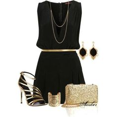 Little black dress with gold accessories