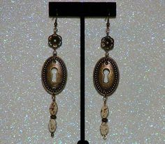 """MCFROGGY'S ORIGINAL ONE-OF-A-KIND HANDCRAFTED STEAMPUNK EARRINGS-BRASS-LEMON CHRYSOPRASE GEMSTONES-(ALSO CALLED CITRON)-GREEN-5""""-INCLUDES A FREE GIFT-CERTIFICATE OF AUTHENTICITY & A GIFT BAG-$24.99   eBay"""