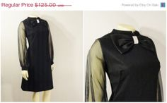 SALE Vintage Dress 60s Mod Black Chiffon by 2sweet4wordsVintage, $87.50