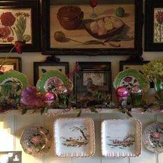 """snapshot from BUTTER WAKEFIELD GARDEN DESIGN (@butterwakefield) on Instagram: """"#shelfscape #oldchina #birdinabox kitchen glamour, #happydays and #happyfriday!"""""""