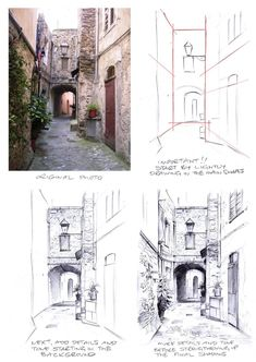 The Rudiments of Perspective: Part One point. - Painting in France Perspective 3 Points, 1 Point Perspective Drawing, Perspective Art, Interior Architecture Drawing, Architecture Concept Drawings, Drawing Exercises, Vanishing Point, Urban Sketching, Elements Of Art