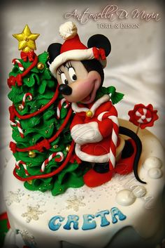 Minnie Christmas Birthday Cake! by Antonella Di Maria Torte & Design (12/21/2012) View details here: http://cakesdecor.com/cakes/40947