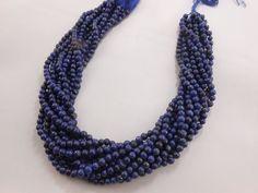 "2 Strand New Lapis Lazuli Round Smooth Beads 13"" Strand 4.5mm-5mm free shipping #GemstoneTopper #Smooth"