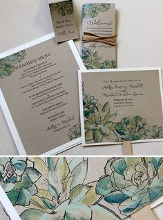 These watercolor succulent invitations are gorgeous!