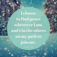 I choose to find peace wherever I am, and I invite others on my path to join me. || peace affirmation || daily affirmation inspiration | the miracle morning aspirations