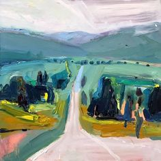the road from cooma to canberra 61X61, oil on board #interiordecor #modernart #artlover