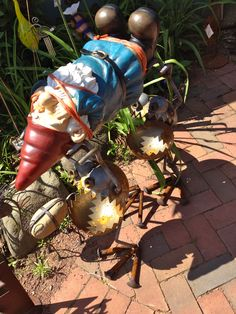 When garden art goes bad, Gnomes get kidnapped. Lol I need this for the random gnomes that show up at my house...