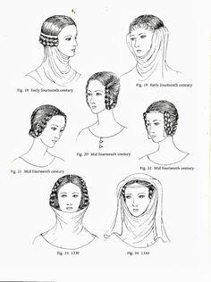 Plantagenet century): Horizontal Braiding, Gorget Gorget--when a wimple… Historical Hairstyles, Medieval Hairstyles, Medieval Costume, Medieval Dress, Medieval Fashion, Medieval Clothing, Historical Costume, Historical Clothing, 14th Century Clothing
