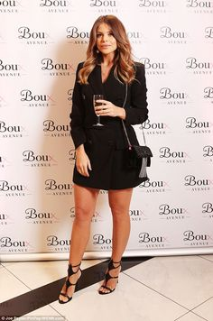 Looking good: Chloe, meanwhile, nailed the androgynous chic look in a tailored tuxedo dress which she teamed with sexy caged heels Chloe Lewis, Megan Mckenna, Boux Avenue, Seductive Women, Caged Heels, Tuxedo Dress, Celebs, Celebrities, Product Launch