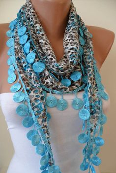 Perforated Fabric  Blue Spring Scarf with Blue Trim by SwedishShop, $15.90