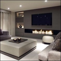 In case you are tired of your old same living room design here are 10 Ways To Redesign Your Modern Living Room! Living Room Tv, Living Room With Fireplace, Living Room Interior, Home Interior Design, Home And Living, Modern Living, Small Living, Fireplace Tv Wall, Luxury Kitchen Design