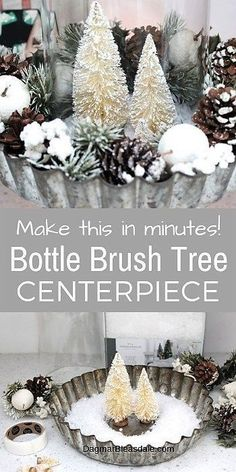 Aren't bottle brush trees just the cutest? I wanted to make something with them and made this easy DIY bottle brush tree winter centerpiece with a pie tin! Winter Centerpieces, Simple Centerpieces, Candle Centerpieces, Wedding Centerpieces, Centerpiece Ideas, Winter Home Decor, Diy Home Decor, Christmas Crafts, Christmas Decorations