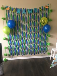 We could do this in fiesta colors with the cactus balloons. We could do this in fiesta colors with the cactus balloons. Dinosaur First Birthday, Baby Boy 1st Birthday, 3rd Birthday Parties, Dinosaur Party, Elmo Party, Elmo Birthday, Mickey Party, Birthday Ideas, Dinosaur Balloons