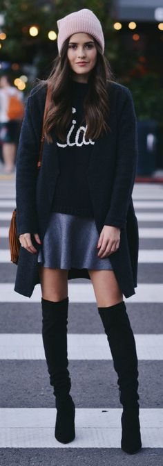 We love this stylish winter jumper and A line skirt combination. Over the knee boots make the perfect   finish to this casual look. Via Paola Alberdi.  Sweater: Ciao Bella, Skirt: Zara, Boots:Nordstrom, Coat: COS.