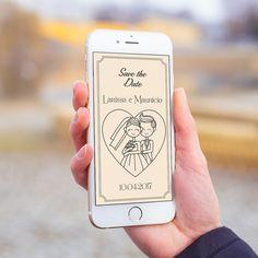 Convite digital celular whatsapp save the date casamento casal ilustração.
