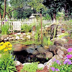 It wouldn't be my dream house without my dream garden and this one fits the bill. I'm in love with koi ponds and the use of recycled materials in this one make it spectacular and unique.