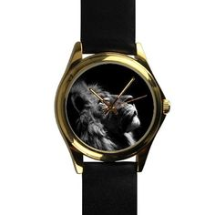 Popular Black and White Lion Art Unisex -tone Round Leather Metal Watch >> New and awesome product awaits you, Read it now  : Travel Gadgets