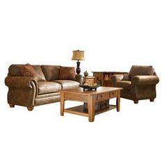 Broyhill 2 Piece Brown Microfiber Living Room Set