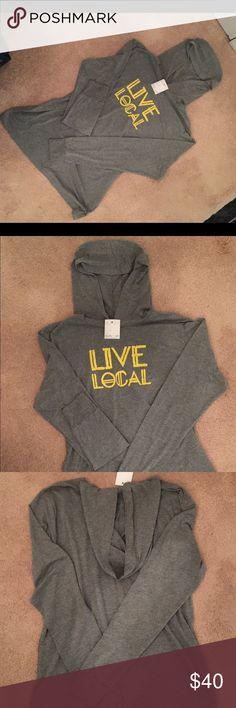 Cinder & Salt LIVE LOCAL hoodie Cinder & Salt long sleeve handprinted hoodie. NWT. LIVE LOCAL. So super soft & comfy Cinder & Salt Tops Sweatshirts & Hoodies