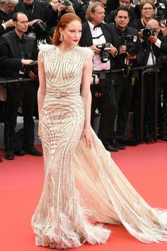 Barbara Meier at the Opening Ceremony and premiere of The Dead Don't Die at the Annual Cannes Film Festival Gucci Gown, Dior Gown, Valentino Gowns, Balmain Dress, Designer Gowns, Designer Wear, Tom Ford Dress, Elie Saab Gowns, Carolina Herrera Dresses