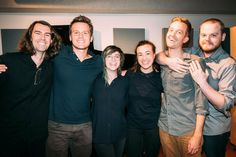 Jonathan Groff with the cast and crew of the podcast musical 36 Questions. May 2017.